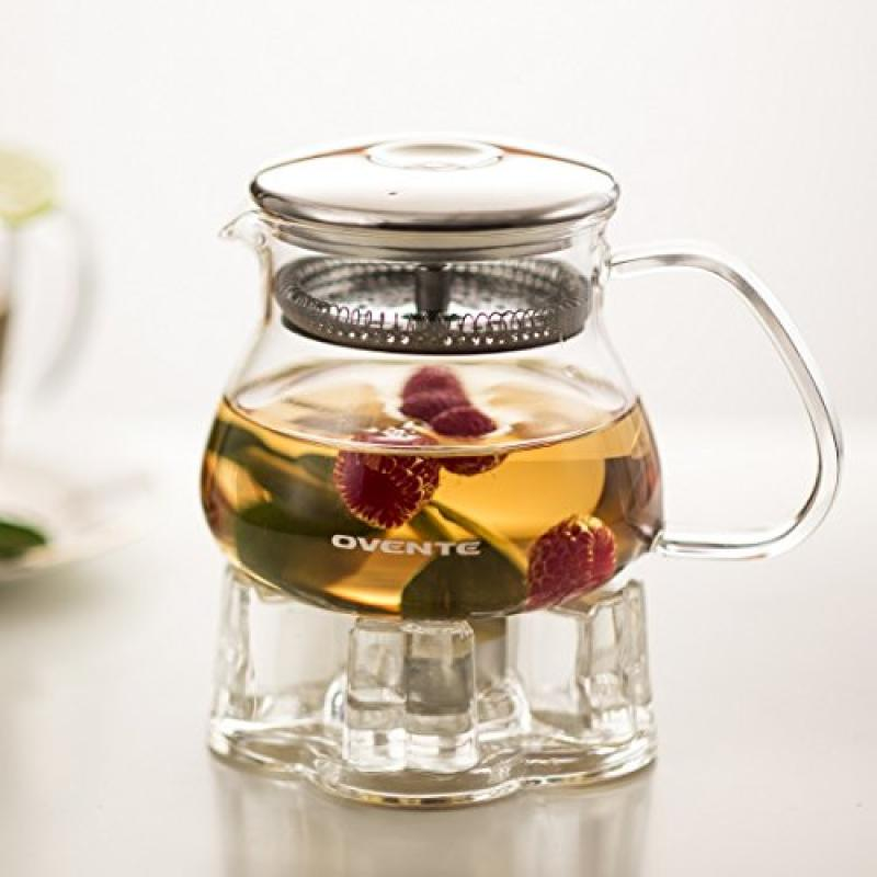 Ovente 27oz Heat Tempered Glass Teapot with Mesh Filter and Glass Teapot Warmer (FGB27T)