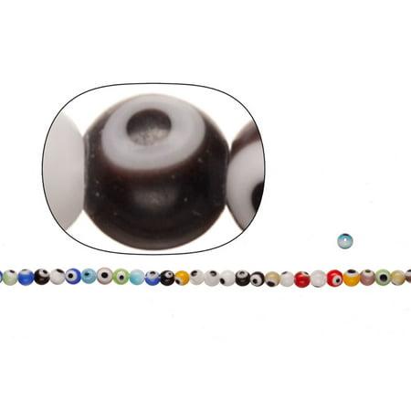 3 Eyed Dzi Bead (Glass Beads, Mix Color Evil Eye Amulet Design, 4mm Round. Sold per pkg of 2x36cm String )