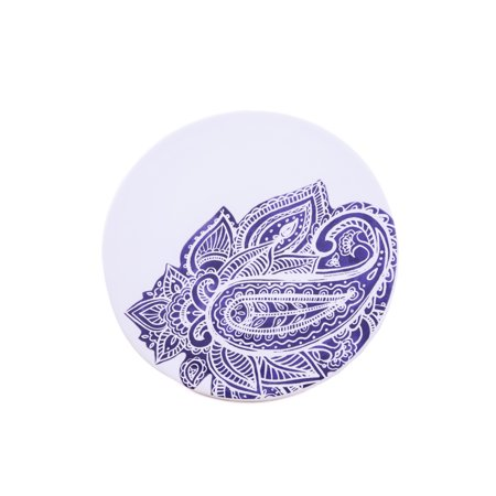 - Thirstystone Indigo Collection Round Ceramic Indigo Paisley Trivet