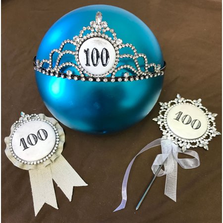 Happy 100th Birthday Cake Topper An Award And A Bling Tiara