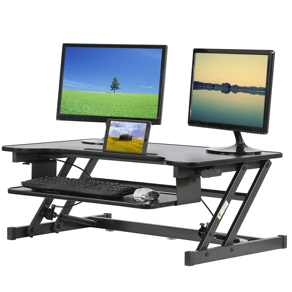 "Standing Desk Height Adjustable Stand Up Sit To Stand Desk Portable 32"" For Desktop Laptop 2 Monitors With Keyboard Tray"
