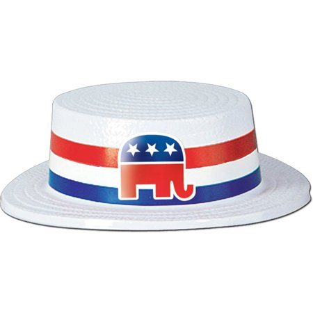 White Plastic Skimmer w/Republican Band Party Accessory (1 count), 1 Skimmer Hat per package By Beistle ()