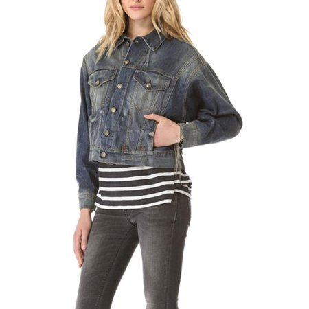 Dolman Crop - R13 Women's Vintage Appeal Cropped Denim Dolman Jacket Small Blue