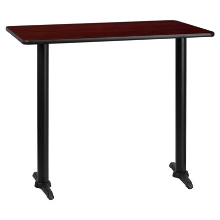 "Flash Furniture 30"" x 48"" Rectangular Laminate Table Top with 5"" x 22"" Bar Height Table Bases, Multiple Colors"