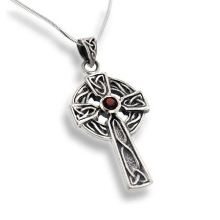 (Large Celtic Knot Sun Cross Pendant with Garnet 18