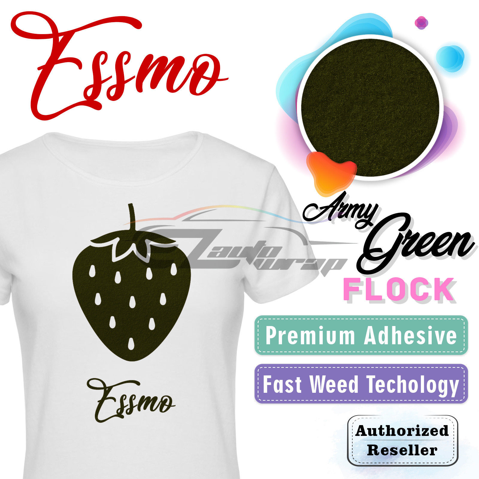 "ESSMO Army Green Flock Heat Transfer Vinyl HTV Sheet T-Shirt 20"" Wide Iron On Heat Press 20""x12"""