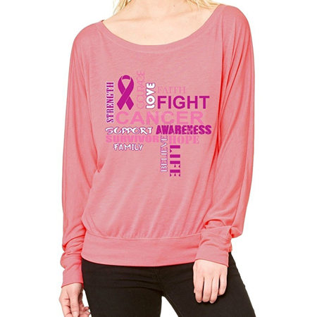 Cf Awareness (Breast Cancer Support Off Shoulder Tee Breast Cancer Awareness Long)
