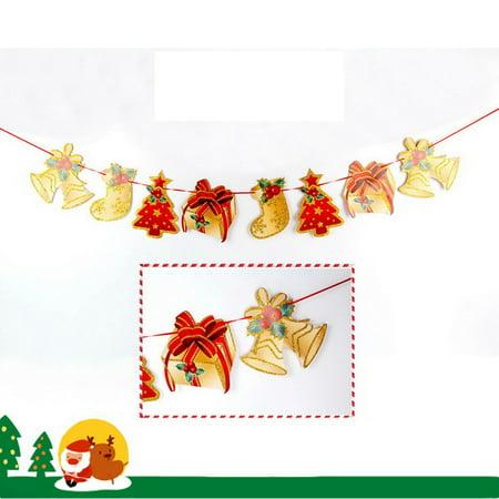 Merry Christmas Banner Decoration Hanging Flag Santa Snowman Elk Sock Xmas Party (Merry Christmas Glitter Banner)
