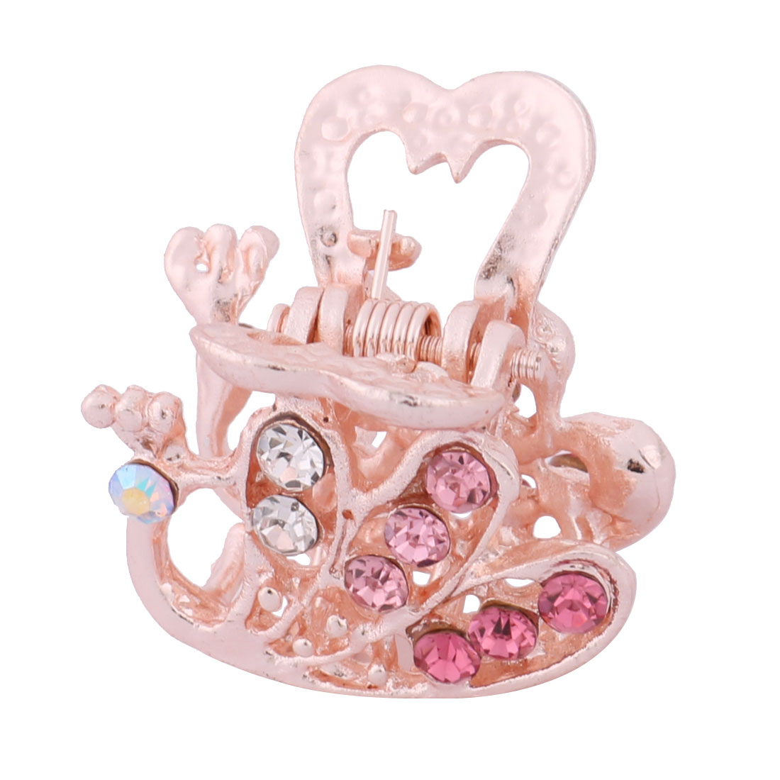 Peacock Shaped Faux Rhinestone Inlaid Hairdressing Hair Claw Barrette Jaw Pink