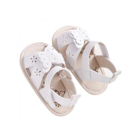 Newborn Baby Girls Infant Summer Sandals PU Leather Floral Crib Shoes - Leather Girls Sandals