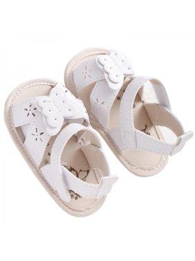 Newborn Baby Girls Infant Summer Sandals PU Leather Floral Crib Shoes Prewalker