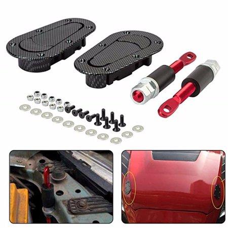 Outtop Racing Car Carbon Fiber Style Hood Pin Bonnet Plus Flush Mount latch Kit Lock