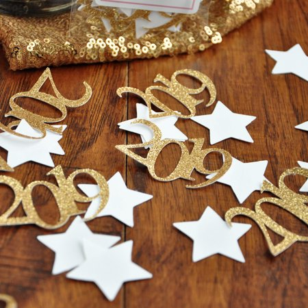 Gold Graduation Confetti. Handmade in 1-3 Business Days. Graduation Party Decorations. 2019 and Star Confetti. - Graduation Confetti
