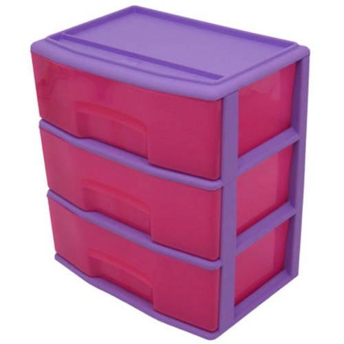 Mainstays Kids Large 3-Drawer Wide Cart, Violet/Pink