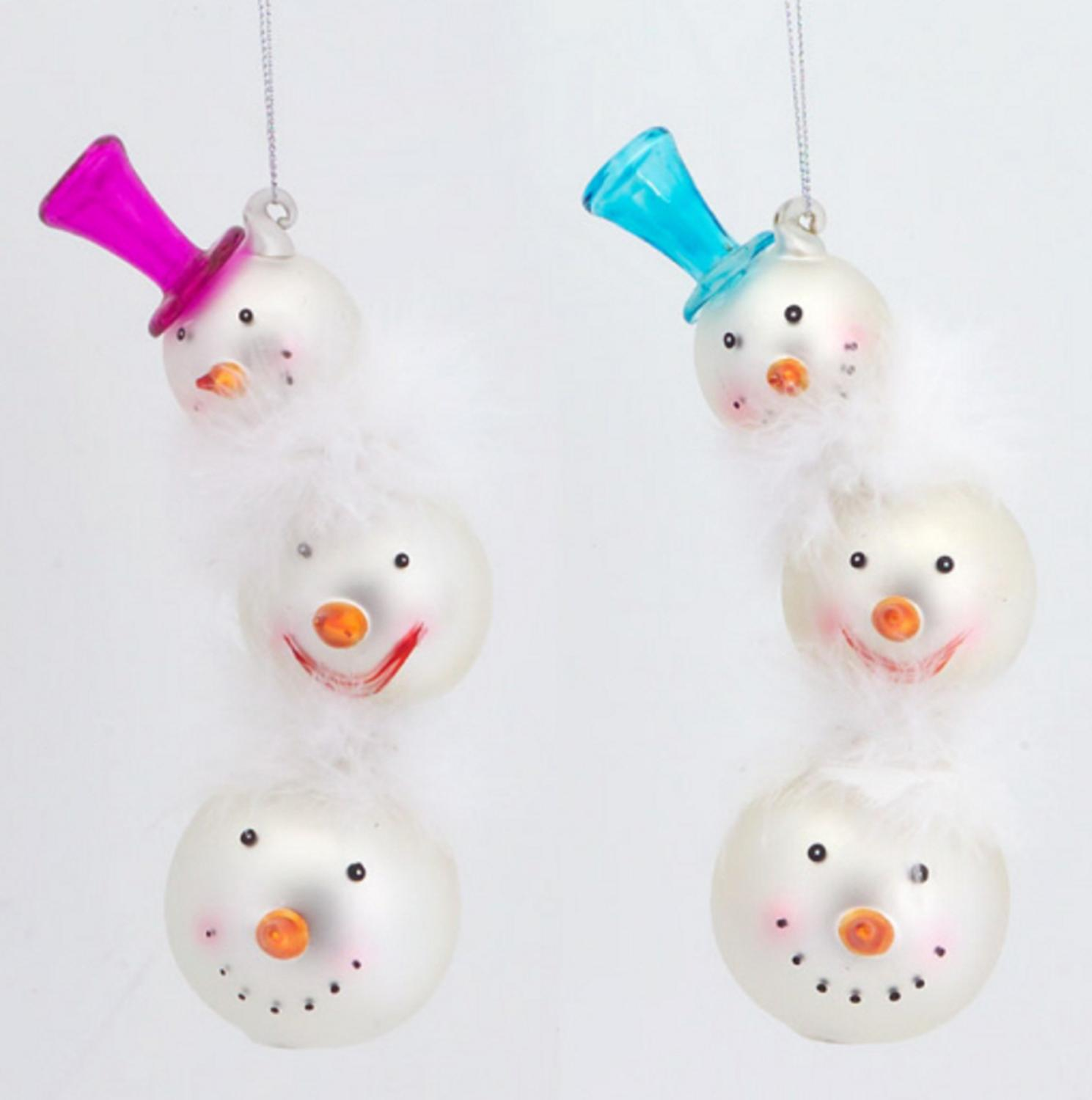 """12 Stacked Snowmen Head with Pink and Blue Hats Glass Christmas Ornaments 7.5"""""""