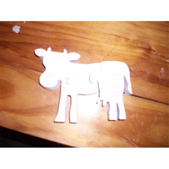 Fine Crafts 1352PUZ Wooden cow shaped jigsaw puzzle