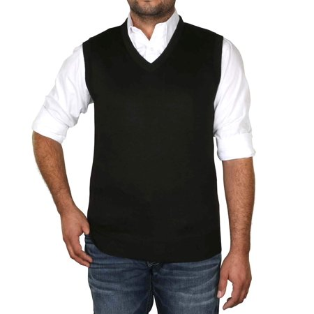 - True Rock Men's Argyle V-Neck Sweater Vest-Royal/Blk/Gray-Small