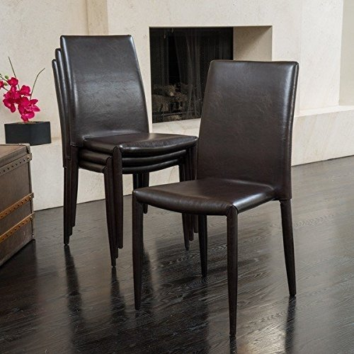 Contemporary, Modern Solid Comstock Bonded Leather Stackable Dining Chair (Set of 4) 296242. 35 in High x 17 in Wide x 20 in Deep - Assembled