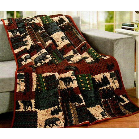 BLACK BEAR Wilderness Cabin Quilted Throw Blanket, 50