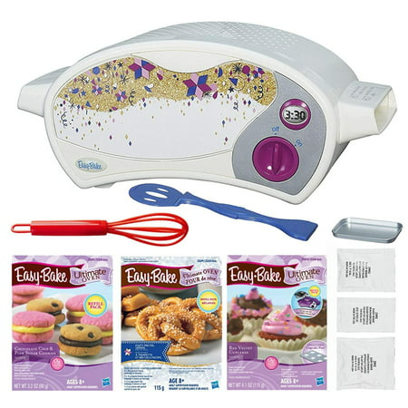 FIVE DEALS Easy Bake Oven Star Edition + Chocolate Chip and Pink Sugar Refill + Red Velvet Cupcakes Refill + Party Pretzel Refill Pack + Mini Whisk. for $<!---->