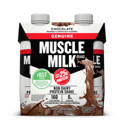 Muscle Milk Genuine Protein Shake, Chocolate, 25g Protein, 4 Ct