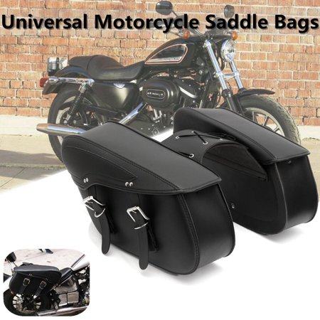 Motorcycle Saddlebag Pouch Rider Universal Motorbike Saddle Bag Luggage Tool Bag For Harley Honda  Waterproof Black Leather MATCC US