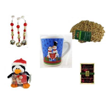 Christmas Fun Gift Bundle [5 Piece] - Set of 3 Jingle Bell Dangle Ornaments - Gold Bead Garland Strand 18' Feet - Happy s!
