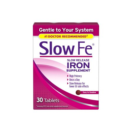 Slow Fe Iron Supplement Tablets for Iron Deficiency, Slow Release, High Potency, 30