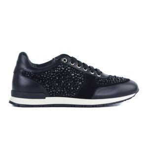 Philipp Plein Women Black  Leather Embellished Go Home Sneakers