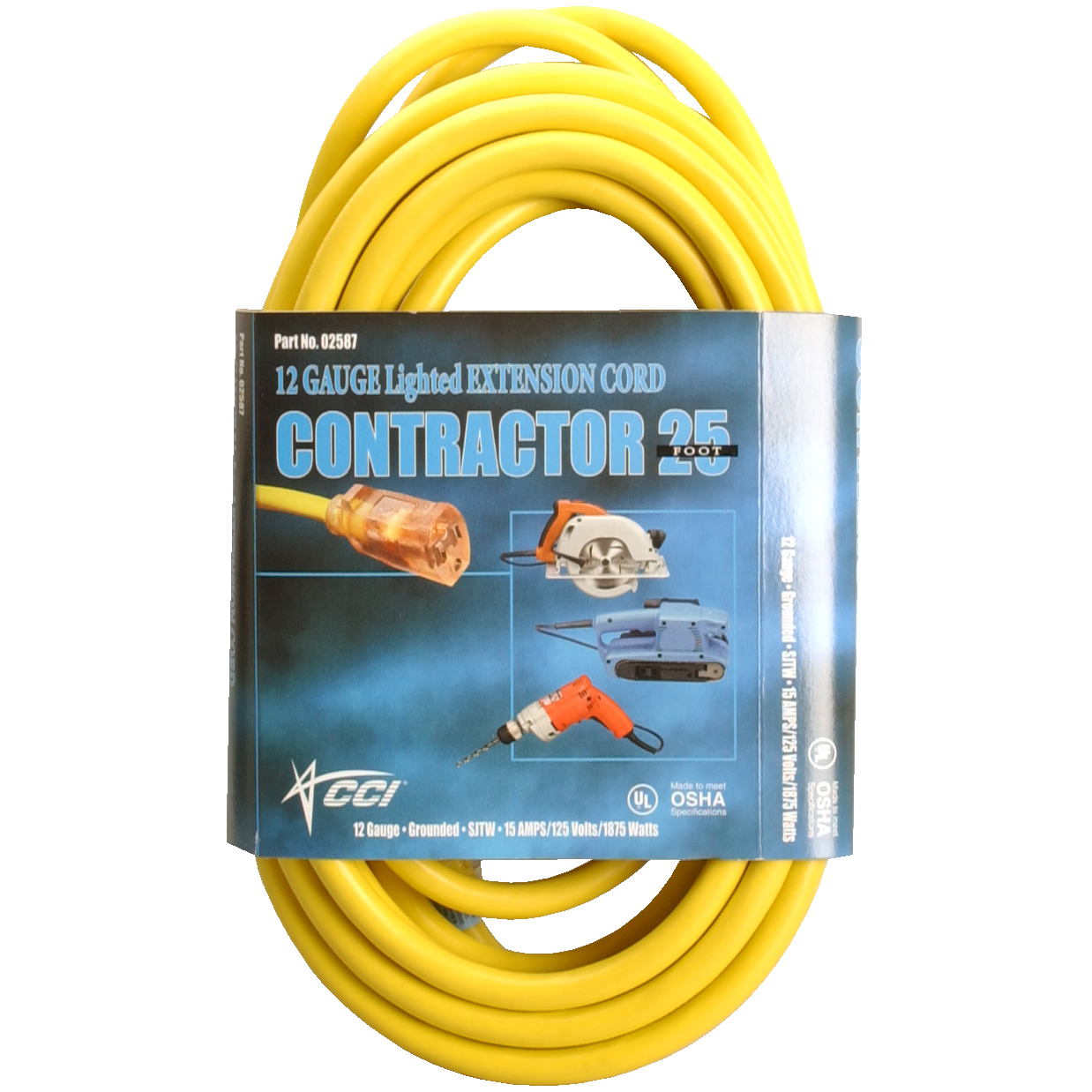 Coleman Cable 2587SW8802 25' Yellow Extension Cord by COLEMAN CABLE - SOUTHWIRE