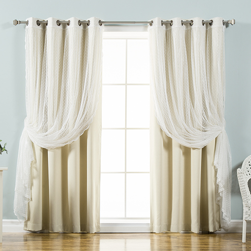 Click here to buy Beige Lace and Solid 52 x 96 In. Blackout Window Treatments, Set of Four.