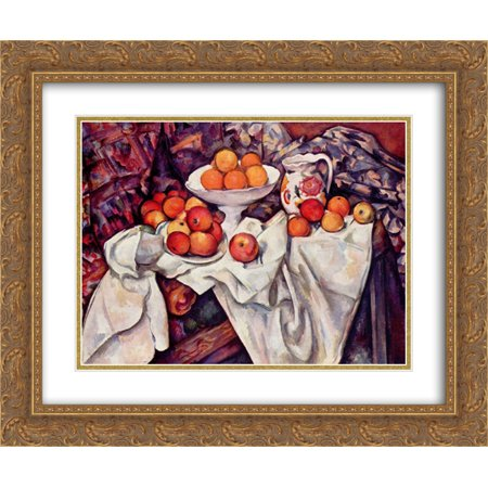 - Paul Cezanne 2x Matted 24x20 Gold Ornate Framed Art Print 'Apples and Oranges '