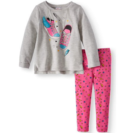 Wonder Nation Graphic Tunic & Leggings, 2-Piece Outfit Set (Toddler Girls)
