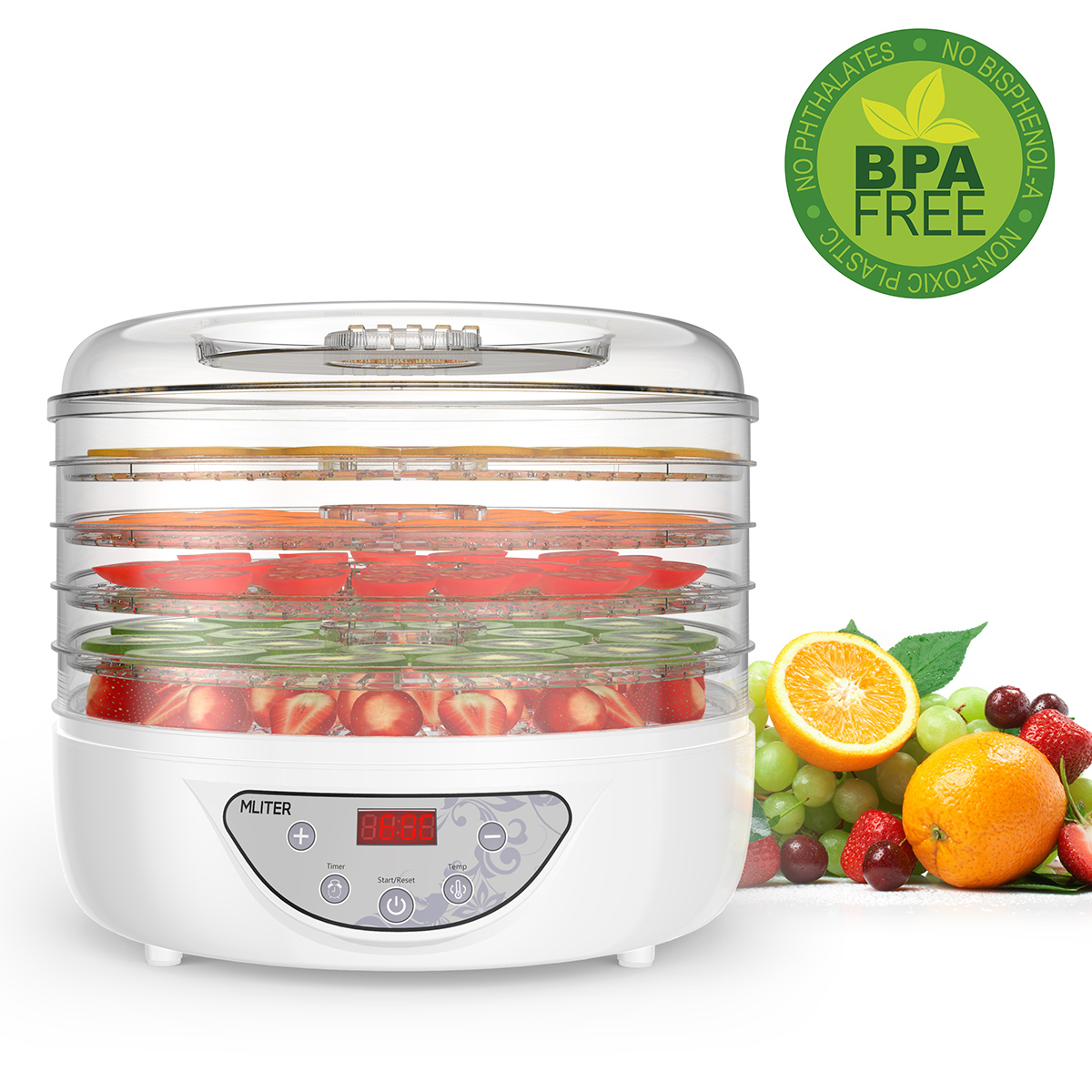 Mliter 5 Stackable Tray Digital Food Dehydrator Electric Food Preserver Vegetable Flower Snack Dryer with Countdown Function Time Control and Automatically Stop Digital Display Control Panel
