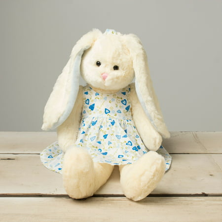 Beverly Hills Teddy Bear Company Hanging Bunny with Blue Flowered Dress