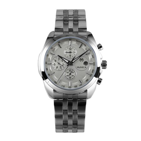 Mechanical Movement Steel Sport Watch - Mens Chronograph Mechanical Automatic Watch Silver Stainless Steel Date Day
