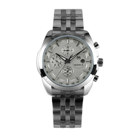 Day Date Chronograph - Mens Chronograph Mechanical Automatic Watch Silver Stainless Steel Date Day