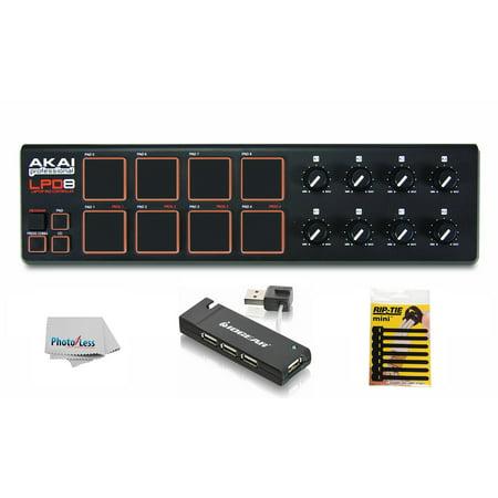 Akai Ram Upgrade - Akai Professional LPD8 USB Pad Controller for Laptops + USB Hub + Cable Ties