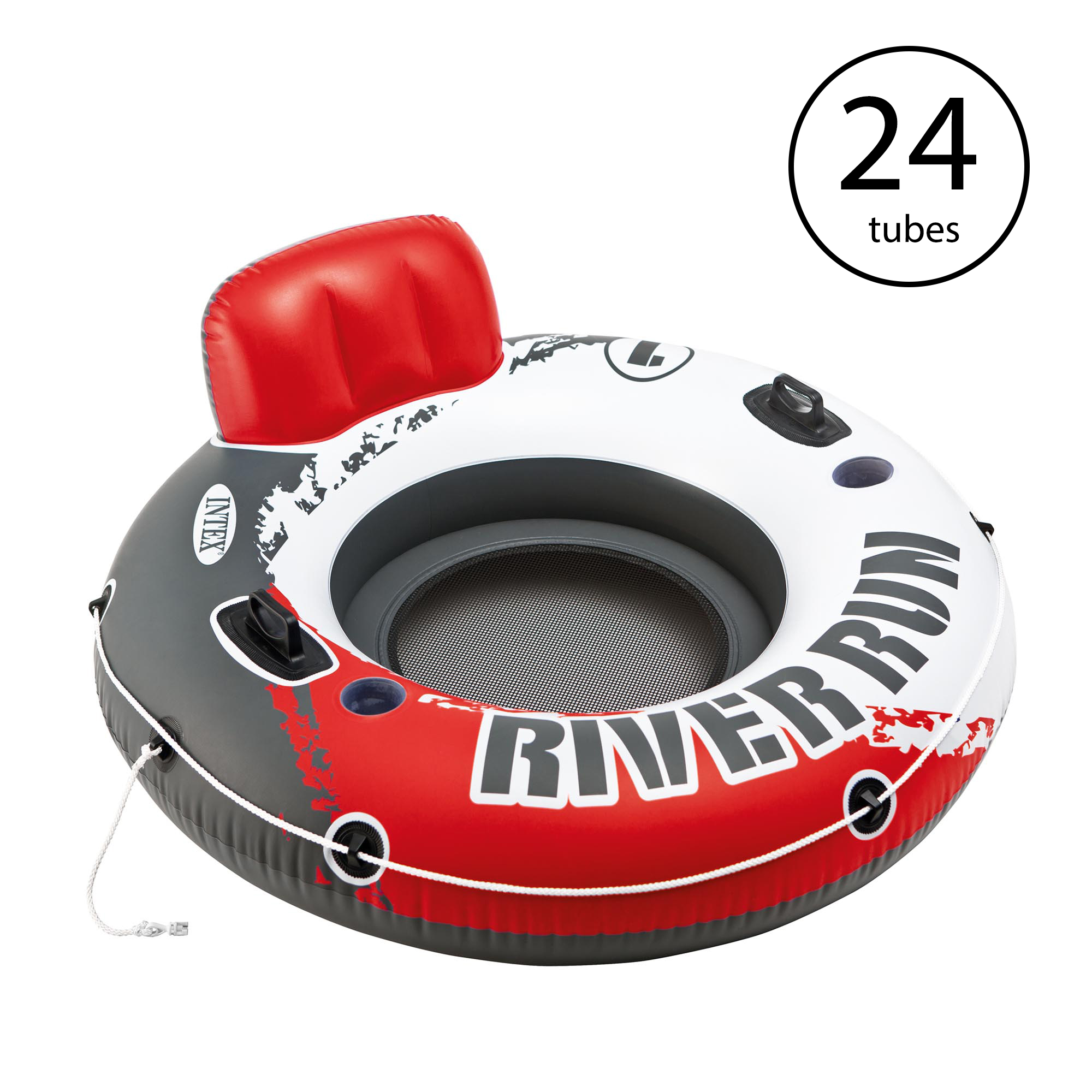 "Intex River Run 1 53"" Inflatable Floating Water Tube Lake Raft, Red (24 Pack)"