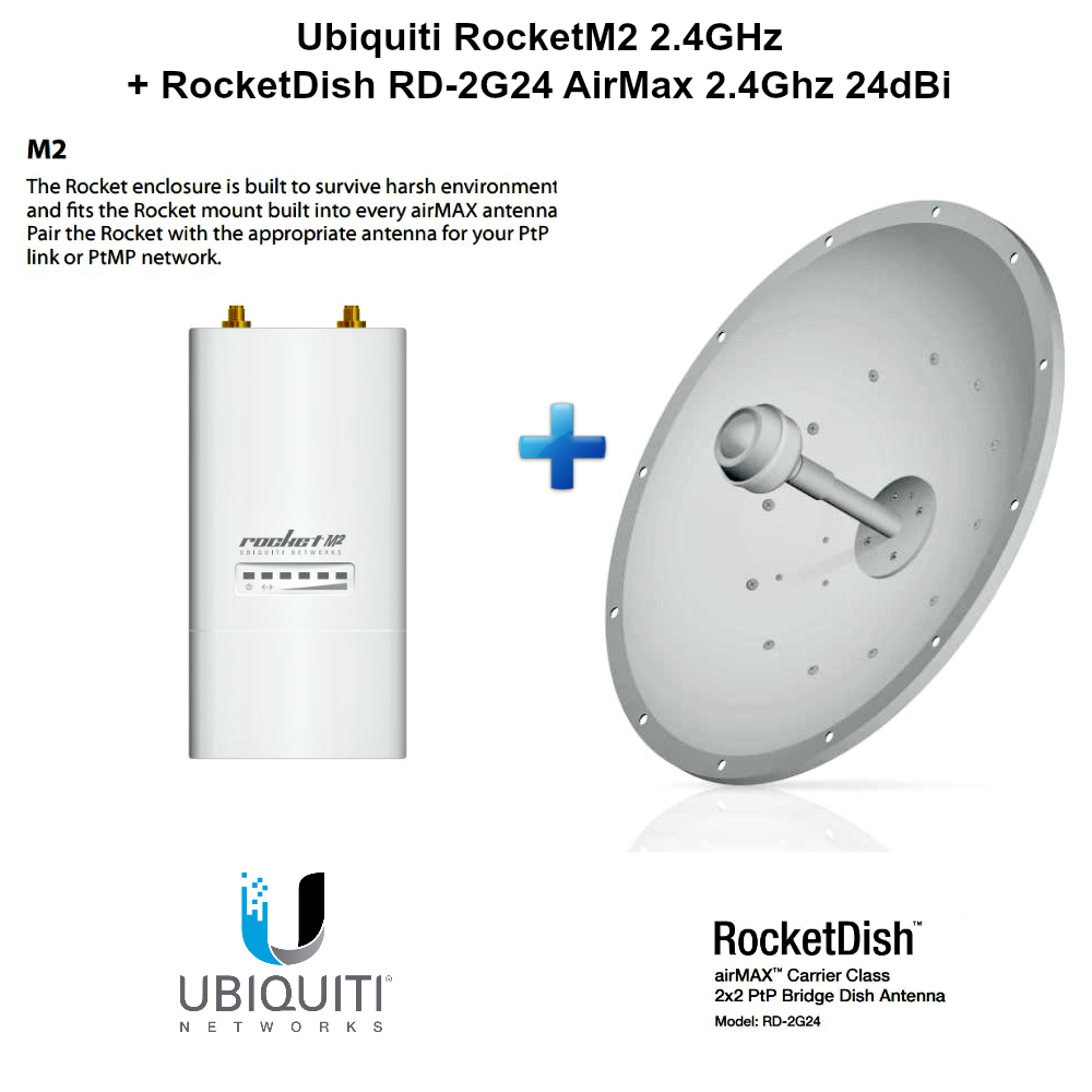 Ubiquiti Rocketm2 24 Ghz Airmax Basestation Rd 2g24 Rocketdish Nanostation M2 Wiring Diagram 2x2 Ptp