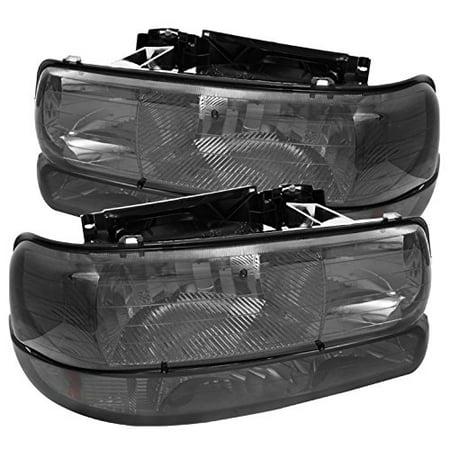 Chevy Silverado 1500/2500 / Chevy Silverado 3500 / Chevy Suburban 1500/2500 / Chevy Tahoe Amber Crystal Headlights With Bumper Lights - Smoke