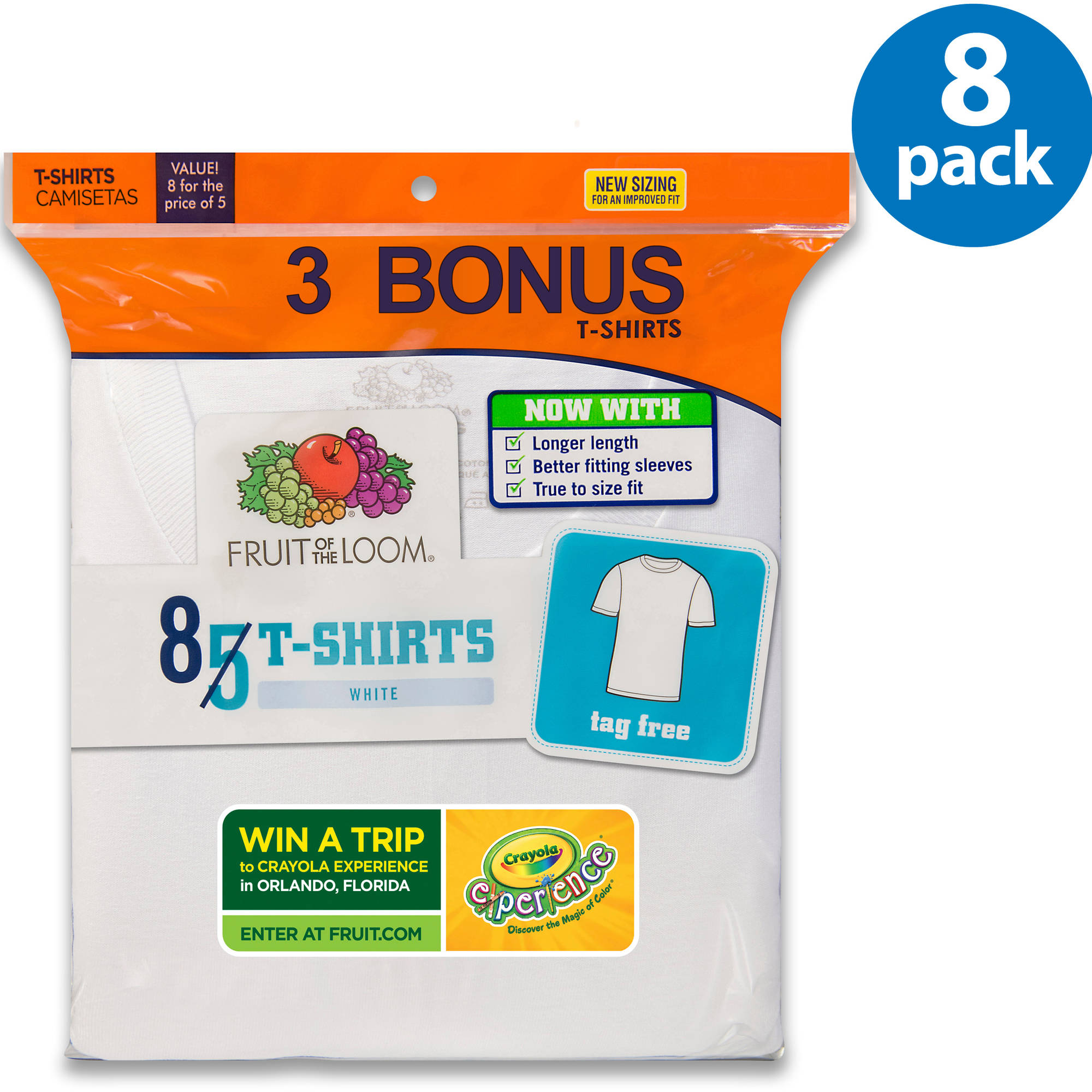 Fruit of the Loom Boys' White T-Shirt, 5+3 Bonus Pack