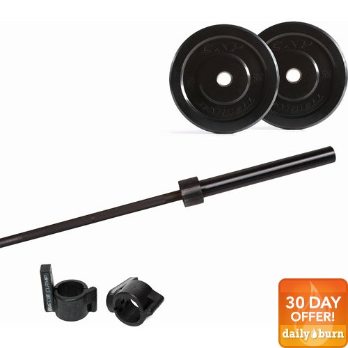 CAP Barbell 115-Pound Bumper Plate Set with 7' Power Bar and Muscle Clamp