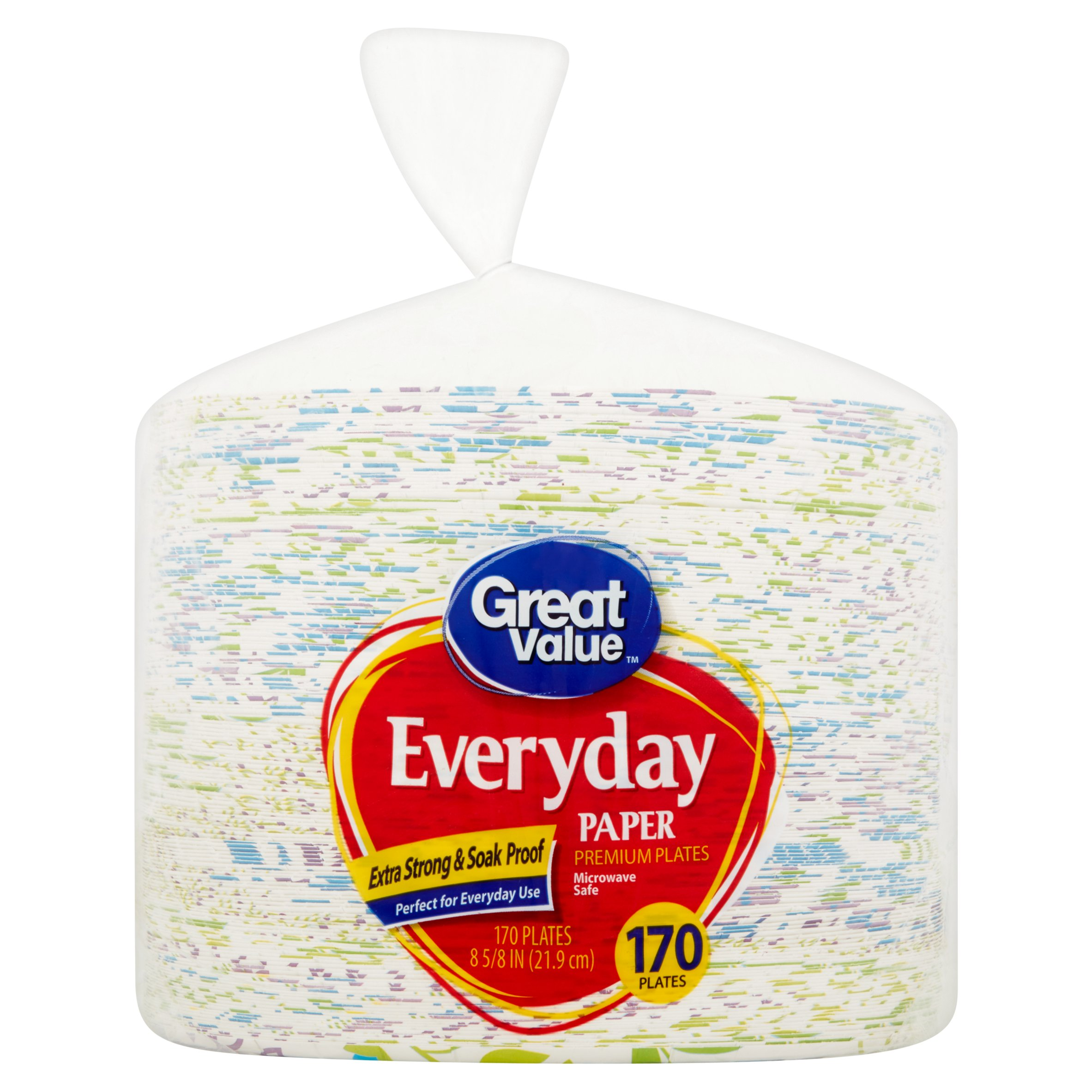 "Great Value Everyday Paper Premium Plates, 8 5/8"", 170 Count"