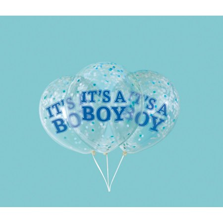 Boy Clear Latex Balloons with Blue Confetti 12
