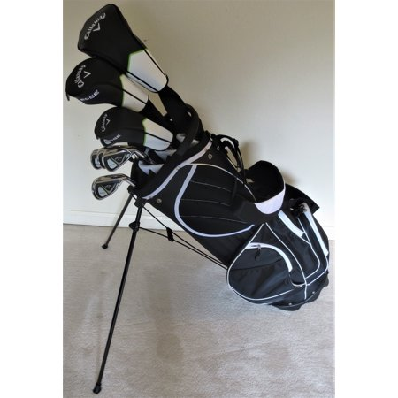 Mens Callaway Golf Set Driver, Fairway Wood, Hybrid, Irons, Sand Wedge, Putter, Stand Bag Stiff Flex ()