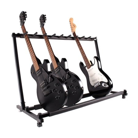 Multi Guitar Stand 9 Holder Foldable Universal Display Rack - Black Portable Guitar Holder With No slip Rubber Padding for Classical Acoustic, Electric, Bass Guitar