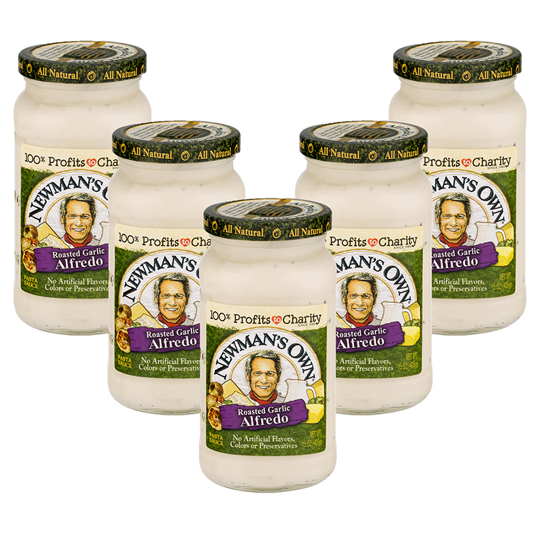 (5 Pack) Newman's Own Roasted Garlic Alfredo Sauce, 15 oz