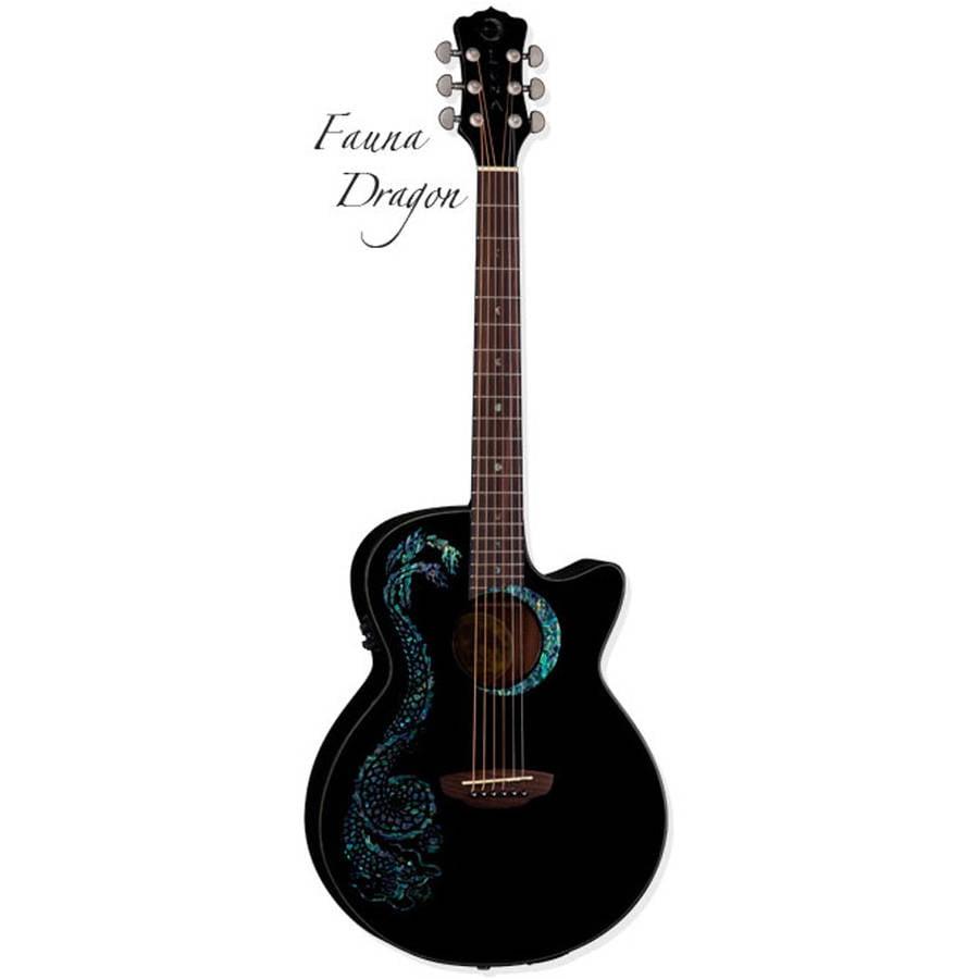 Luna Fauna Dragon Cutaway Quilted Top Acoustic Electric Guitar Black by Luna Guitar