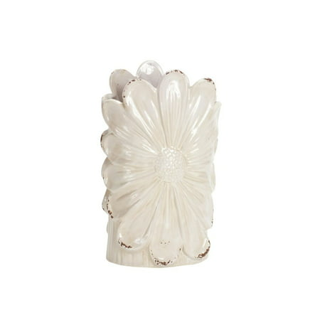 Pack of 3 Pearl White Distressed Finish Floral Daisy Tabletop Vase